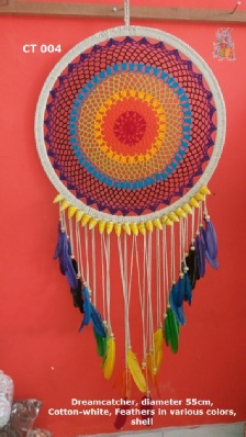 Dreamcatcher, diameter 55 cm, Cotton - various colors, Feather - various colors, shell - Item code: CT004