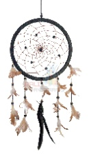 Dreamcatcher, diameter 16 cm, Leather, Feather, Terra cotta Beads - Item code: L005-008